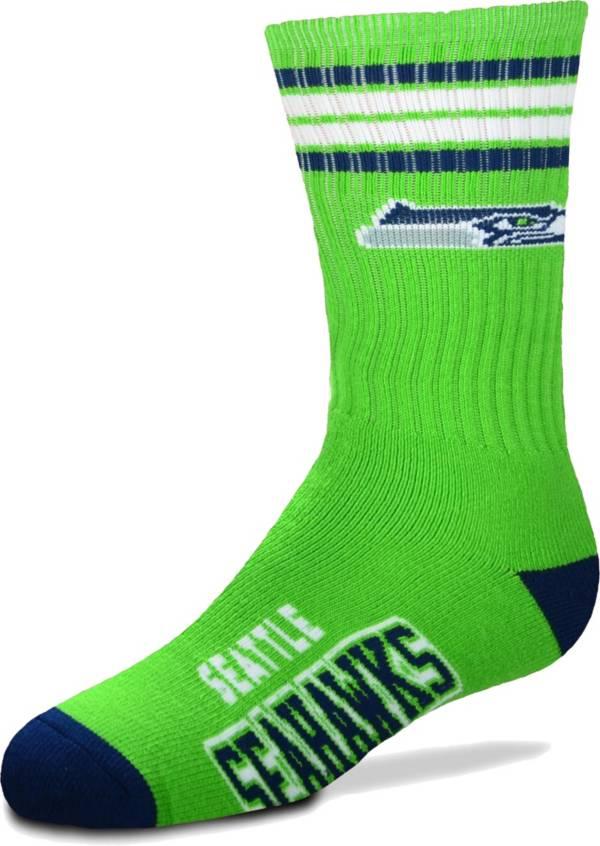 For Bare Feet Youth Seattle Seahawks 4-Stripe Deuce Crew Socks product image