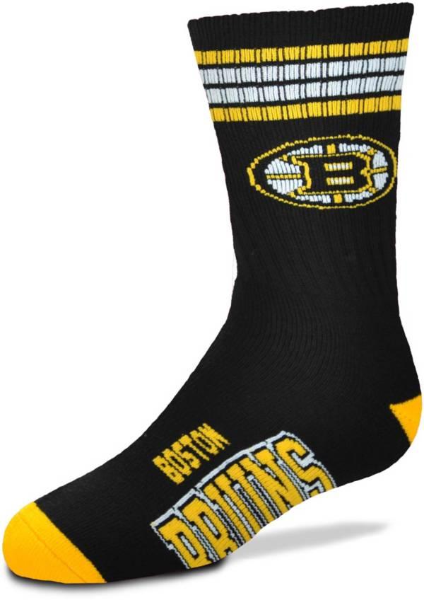 For Bare Feet Youth Boston Bruins 4-Stripe Deuce Crew Socks product image