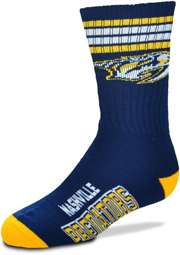 For Bare Feet Youth Nashville Predators 4-Stripe Deuce Crew Socks product image