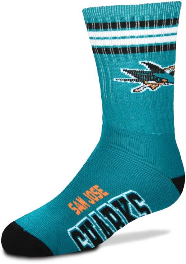 For Bare Feet Youth San Jose Sharks 4-Stripe Deuce Crew Socks product image