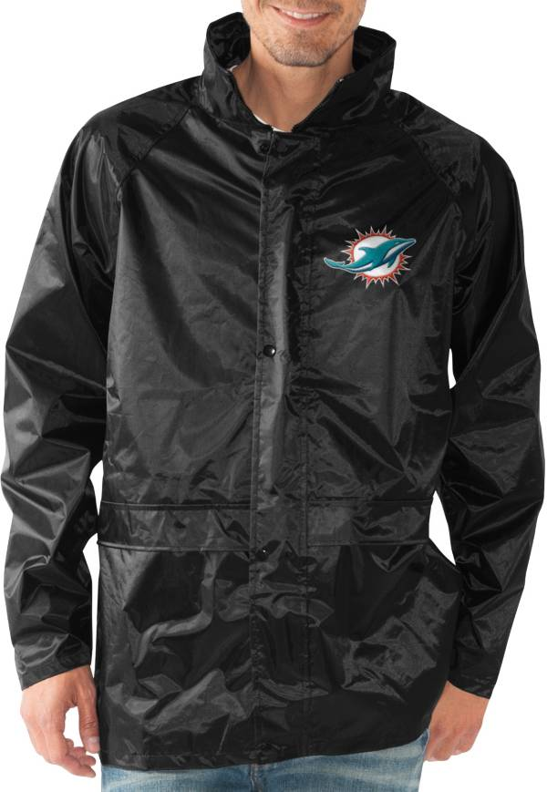 G-III Men's Miami Dolphins Full-Zip Hard Rain Black Jacket product image