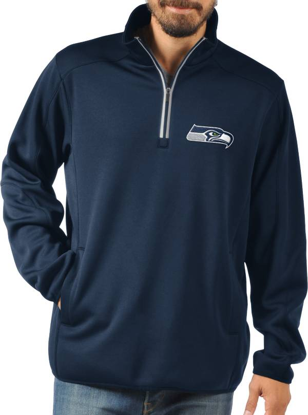 G-III Men's Seattle Seahawks 1st Down Quarter-Zip Navy Pullover Shirt product image