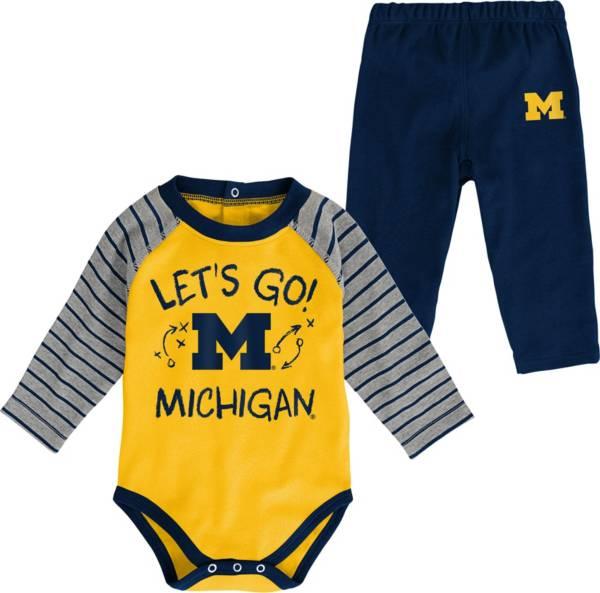 Gen2 Toddler Michigan Wolverines Blue Touchdown 2-Piece Creeper Set product image