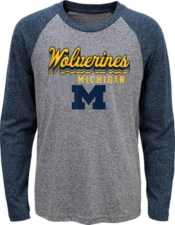 Gen2 Youth Michigan Wolverines Grey Script Tri-Blend Raglan Long Sleeve T-Shirt product image