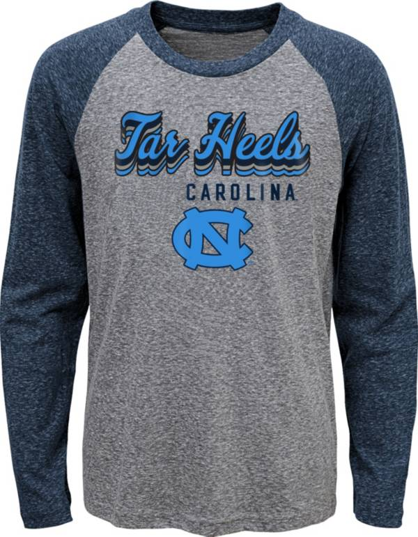 Gen2 Youth North Carolina Tar Heels Grey Script Tri-Blend Raglan Long Sleeve T-Shirt product image