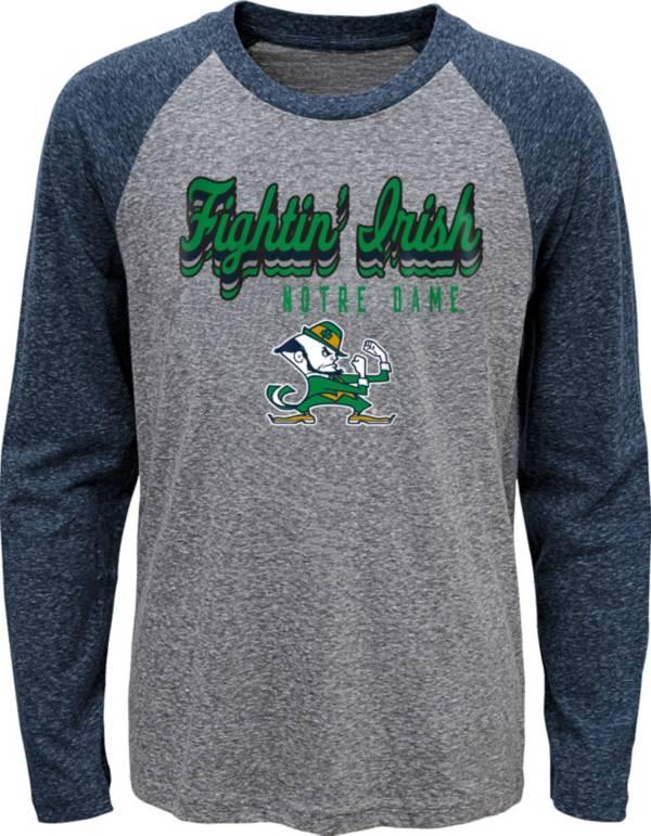 Gen2 Youth Notre Dame Fighting Irish Grey Script Tri-Blend Raglan Long Sleeve T-Shirt product image