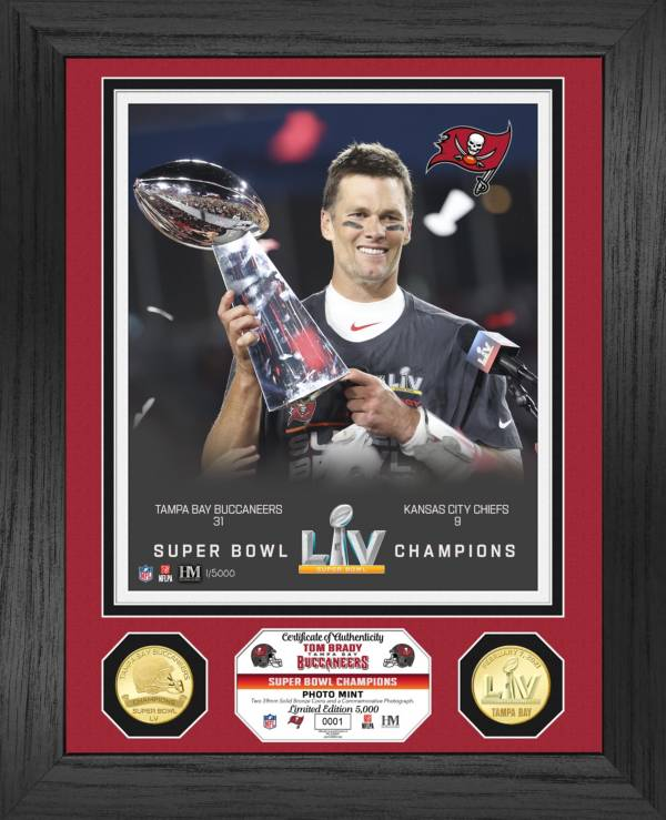 Highland Mint Super Bowl LV Champions Tampa Bay Buccaneers Tom Brady Trophy Bronze Coin Photo Mint product image