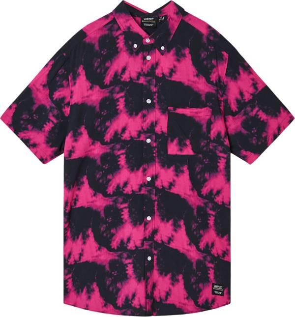 WeSC Men's Oden Pink Glow Tie Dye Short Sleeve Shirt product image