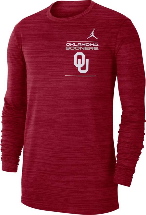 Jordan Men's Oklahoma Sooners Crimson Dri-FIT Velocity Football Sideline Long Sleeve T-Shirt product image