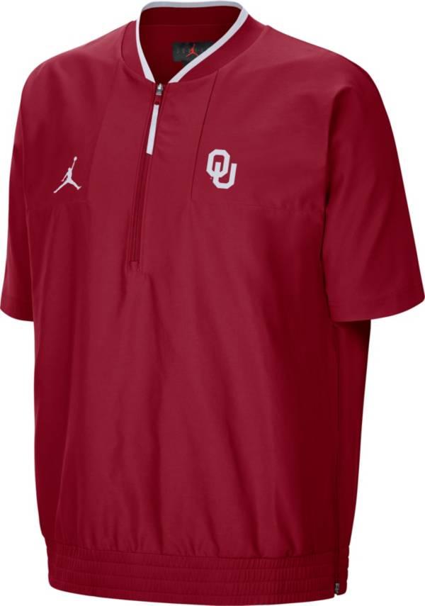 Jordan Men's Oklahoma Sooners Crimson Football Sideline Coach Short Sleeve Jacket product image