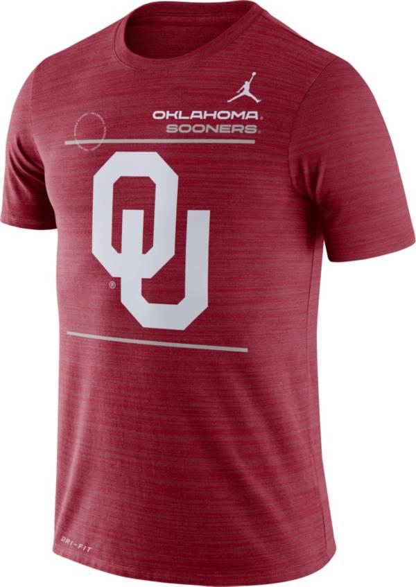 Jordan Men's Oklahoma Sooners Crimson Dri-FIT Velocity Football Sideline T-Shirt product image