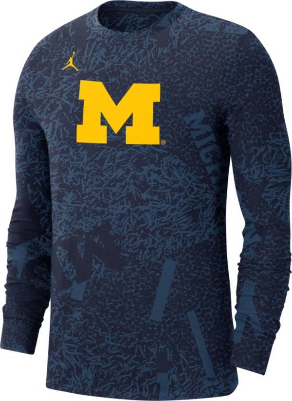 Jordan Men's Michigan Wolverines Blue Football Team Issue Practice Long Sleeve T-Shirt product image
