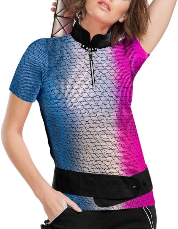 Jamie Sadock Women's Ombre Fishnet Pink Short Sleeve T-Shirt product image