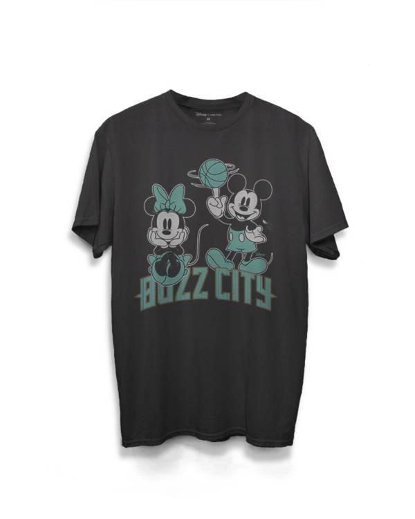 Junk Food Men's Charlotte Hornets Disney Vintage Mickey Baller City Edition Black T-Shirt product image