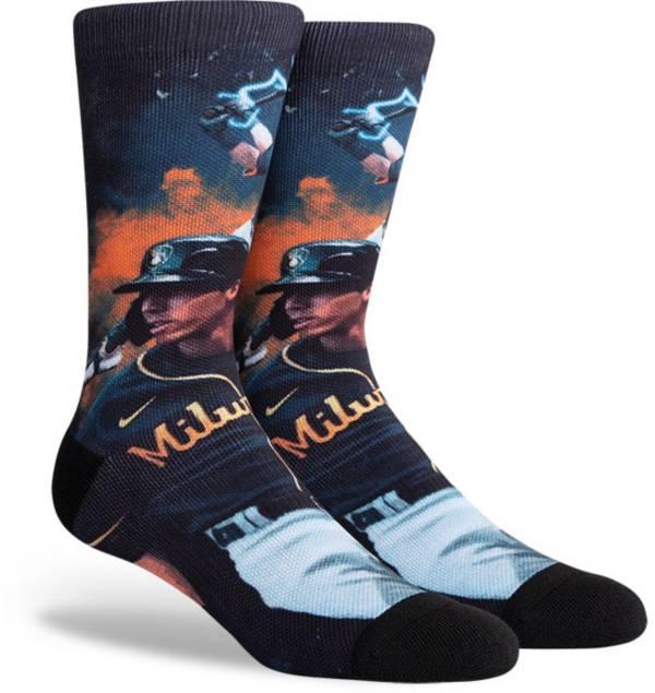 PKWY Milwaukee Brewers Black Christian Yelich #22 Crew Socks product image