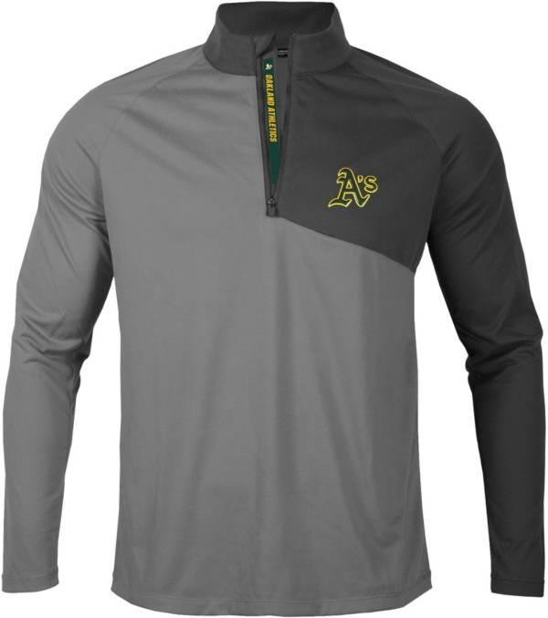 Levelwear Men's Oakland Athletics Gray Pinnacle Slant Text ¼ Zip product image