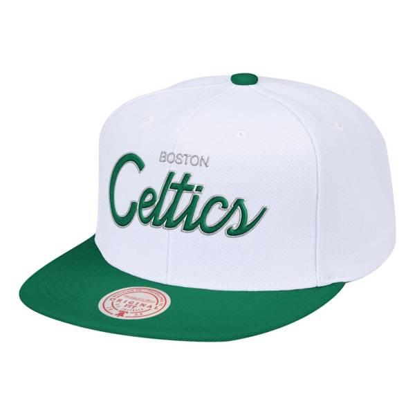 Mitchell & Ness Men's Boston Celtics White Heritage Snapback Hat product image