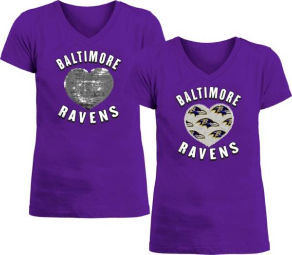 New Era Apparel Girl's Baltimore Ravens Sequins Heart Purple T-Shirt product image