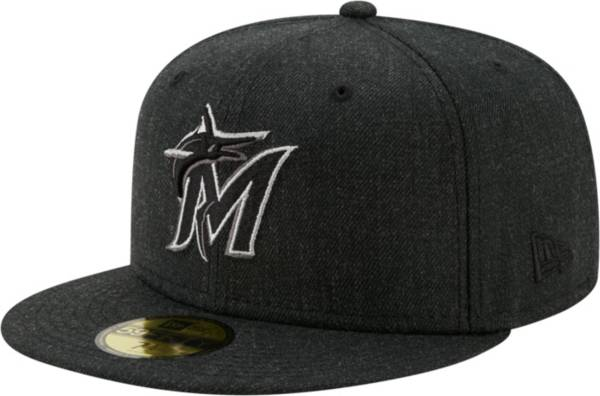 New Era Men's Miami Marlins 59Fifty Black Heather Classic Fitted Hat product image