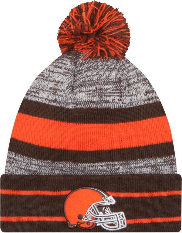 New Era Men's Cleveland Browns Brown Cuff Pom Beanie product image
