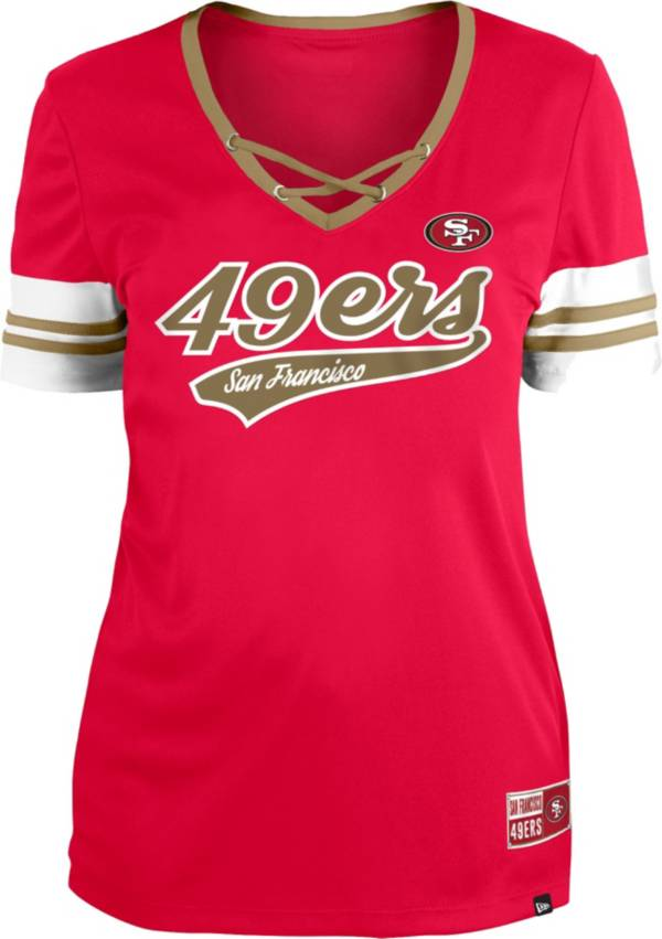 New Era Women's San Francisco 49ers Red Lace-Up V-Neck T-Shirt product image