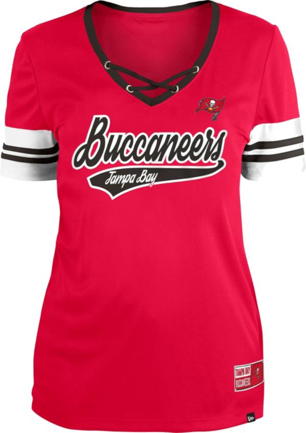 New Era Women's Tampa Bay Buccaneers Red Lace-Up V-Neck T-Shirt product image