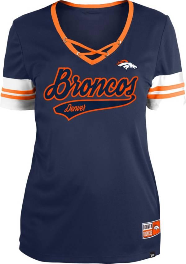 New Era Women's Denver Broncos Orange Lace-Up V-Neck T-Shirt product image