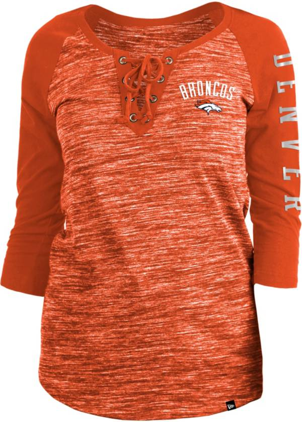 New Era Women's Denver Broncos Space Dye Lace Orange Raglan Shirt product image