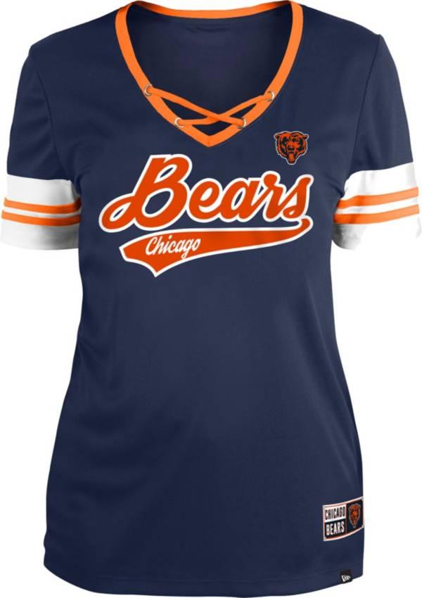 New Era Women's Chicago Bears Navy Lace-Up V-Neck T-Shirt product image
