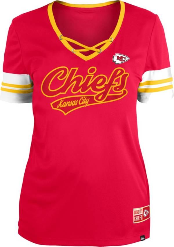 New Era Women's Kansas City Chiefs Red Lace-Up V-Neck T-Shirt product image