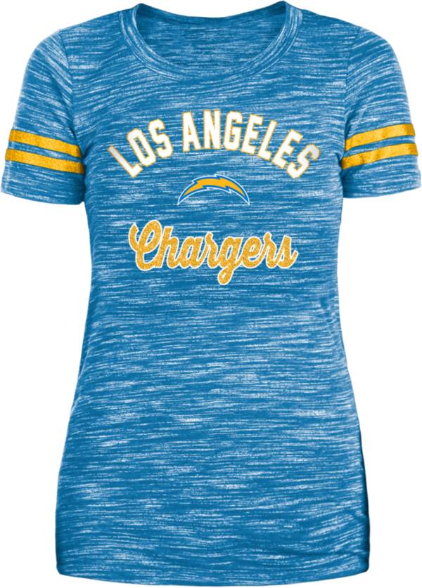 New Era Women's Los Angeles Chargers Space Dye Glitter Blue T-Shirt product image