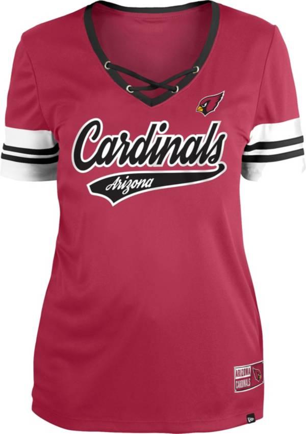 New Era Women's Arizona Cardinals Red Lace-Up V-Neck T-Shirt product image