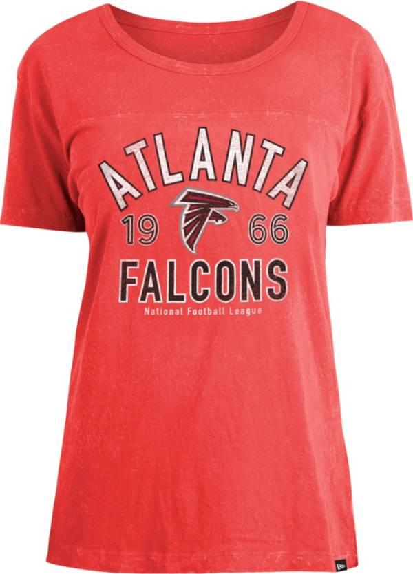 New Era Women's Atlanta Falcons Red Mineral Wash T-Shirt product image