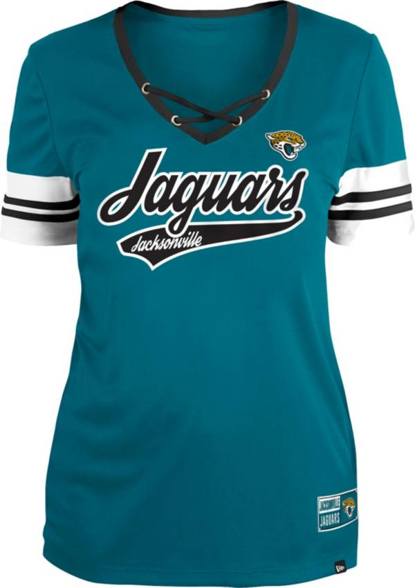 New Era Women's Jacksonville Jaguars Teal Lace-Up V-Neck T-Shirt product image