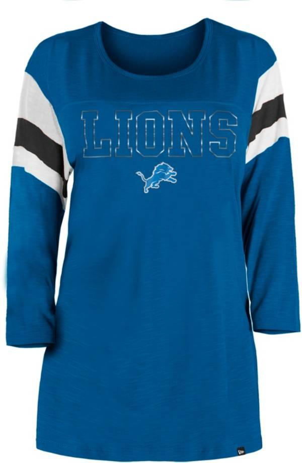 New Era Women's Detroit Lions Foil Slub Blue Three-Quarter Sleeve T-Shirt product image