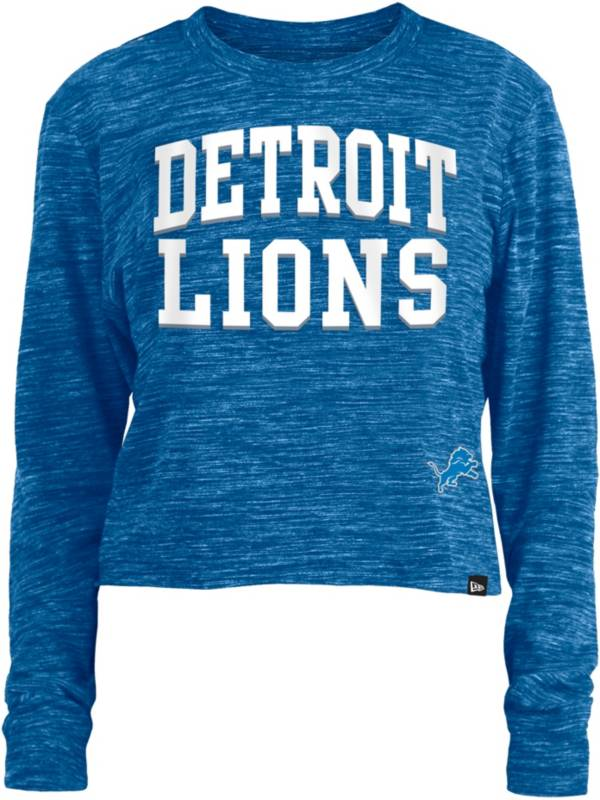 New Era Women's Detroit Lions Space Dye Blue Long Sleeve Crop Top T-Shirt product image