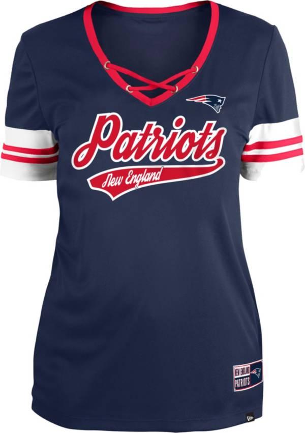 New Era Women's New England Patriots Navy Lace-Up V-Neck T-Shirt product image