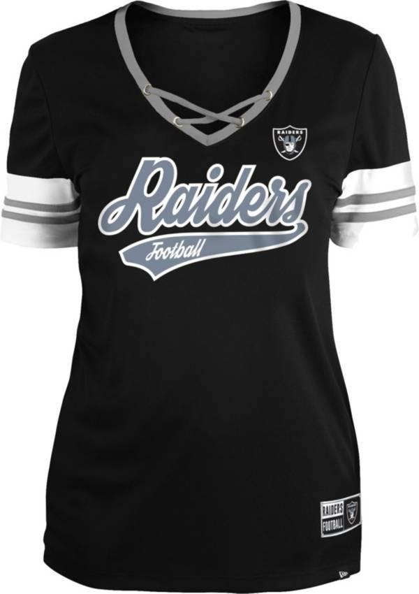 New Era Women's Las Vegas Raiders Black Lace-Up V-Neck T-Shirt product image