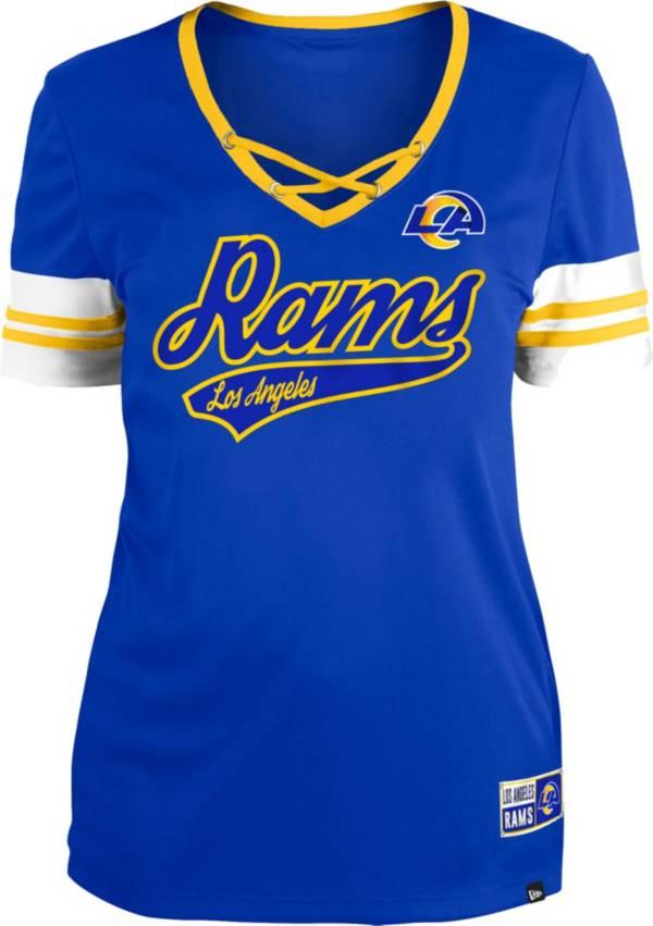 New Era Women's Los Angeles Rams Royal Lace-Up V-Neck T-Shirt product image