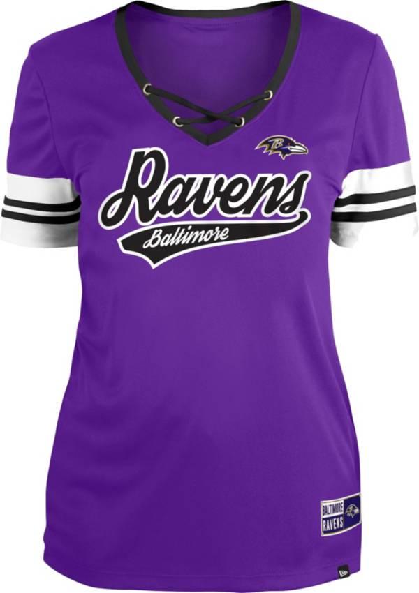 New Era Women's Baltimore Ravens Purple Lace-Up V-Neck T-Shirt product image
