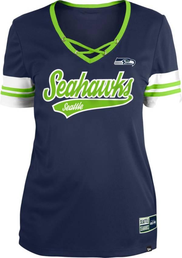 New Era Women's Seattle Seahawks Navy Lace-Up V-Neck T-Shirt product image
