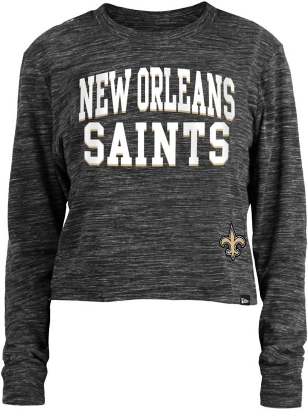 New Era Women's New Orleans Saints Space Dye Black Long Sleeve Crop Top T-Shirt product image