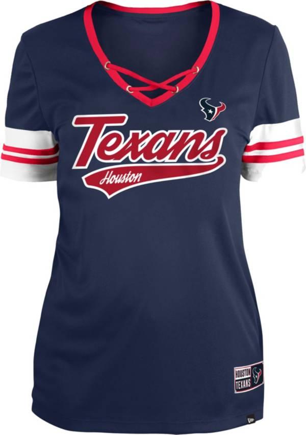 New Era Women's Houston Texans Navy Lace-Up V-Neck T-Shirt product image