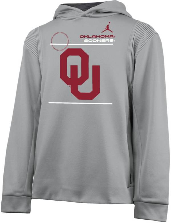 Nike Youth Oklahoma Sooners Grey Therma Football Sideline Pullover Hoodie product image