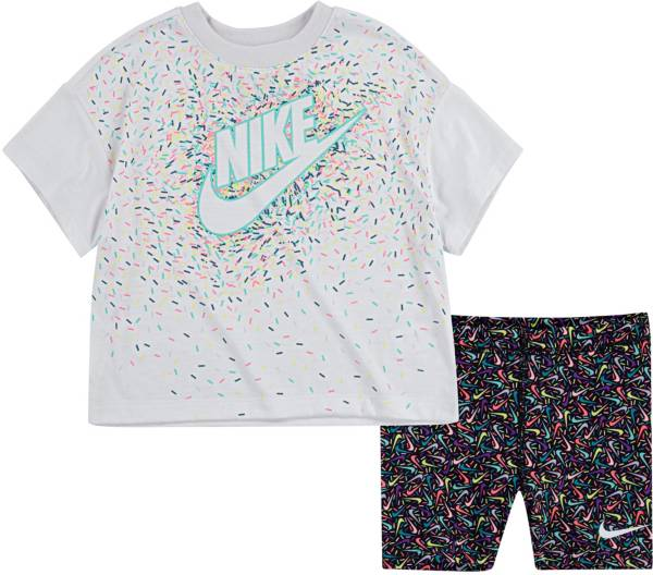 Nike Little Girls' Swoosh Sprinkle T-Shirt and Biker Shorts Set product image