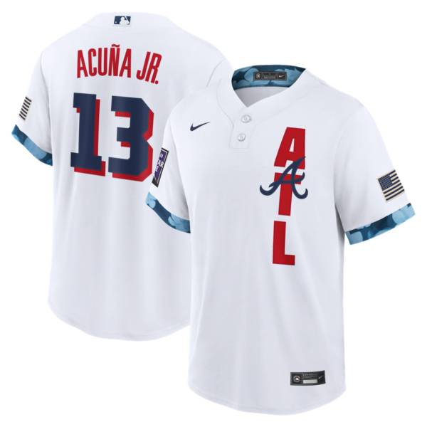Nike Men's Atlanta Braves Ronald Acuña Jr. #13 White 2021 All-Star Game Cool Base Jersey product image