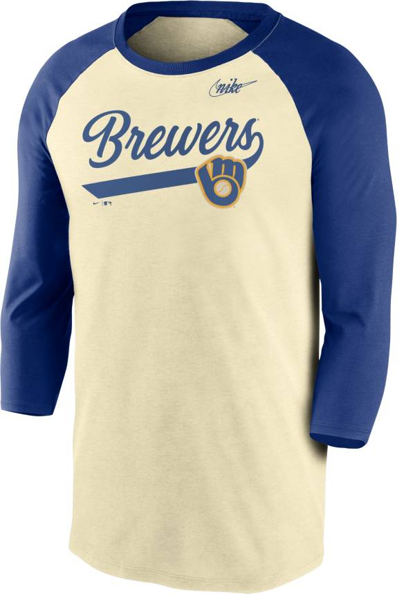 Nike Men's Milwaukee Brewers Cream Cooperstown Raglan Three-Quarter Sleeve Shirt product image