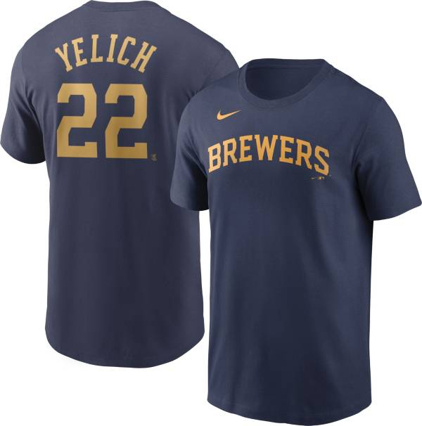 Nike Men's Milwaukee Brewers Christian Yelich #22 Navy T-Shirt product image
