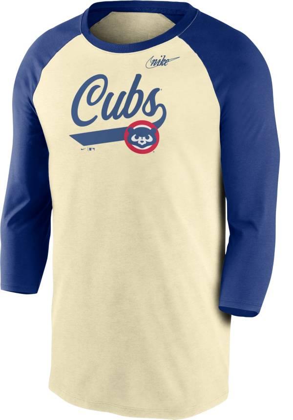 Nike Men's Chicago Cubs Cream Cooperstown Raglan Three-Quarter Sleeve Shirt product image