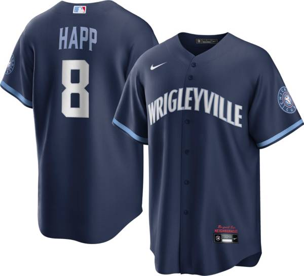 Nike Men's Chicago Cubs Ian Happ #8 Navy 2021 City Connect Cool Base Jersey product image